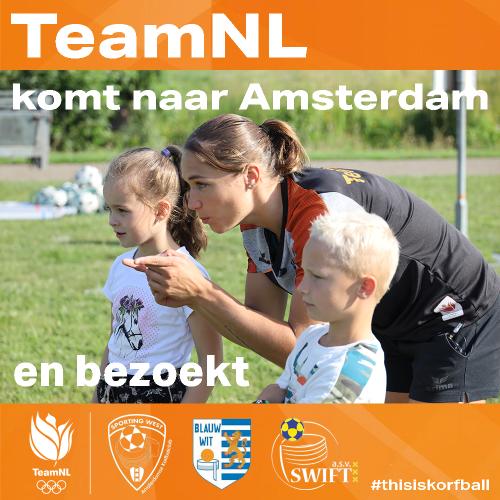 Korfbalvereniging Sporting West ontvangt Nederlands korfbal team in Westerpark