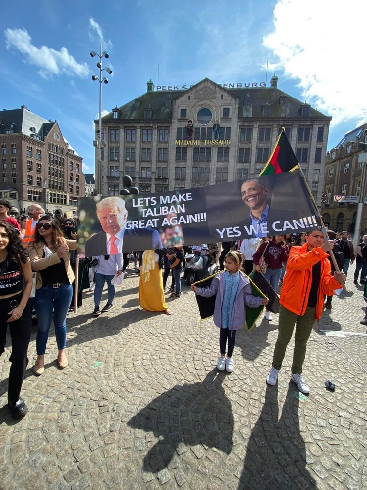 Demonstratie op de Dam voor meer steun Afghaanse vluchtelingen